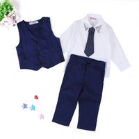 3-piece White Shirt, Handsome Vest and Pants for Baby and Toddler