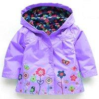 Lovely Flower Print Hooded Raincoat fro Toddler Girl and Girl
