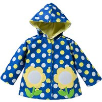 Pretty Floral Applique Polka Dotted Hooded Coat for Baby Girl/Girl