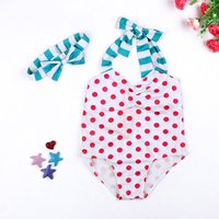 Cute Dotted Swimsuit and Headband for Baby and Toddler Girl