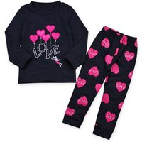 2-piece LOVE Embroidery Heart Balloon Top and Pants for Girls