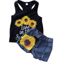 2-piece Sunflower Print Tank Top and Rip Denim Shorts for Toddler Girl