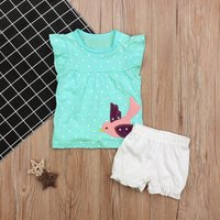 2-piece Polka Dotted Animal Applique Top and Shorts Set for Baby Girl