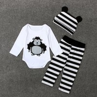 3-piece Cute Dotted / Striped Cartoon Print Long-sleeve Bodysuit, Pants and Hat Set for Baby Boy