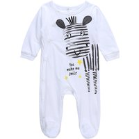 Cute Letter and Donkey Print Footed Long-sleeve Jumpsuit in White for Baby Boy