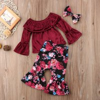 3-piece Off Shoulder Top Floral Pants and Headband for Toddler Girl