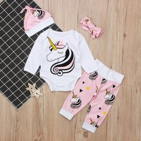4-piece Pretty Unicorn Print Long-sleeve Set for Baby Girl