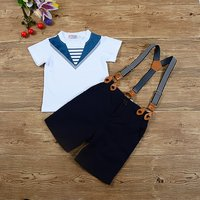 Stylish Short-sleeve Top and Suspender Shorts Set for Baby Boy