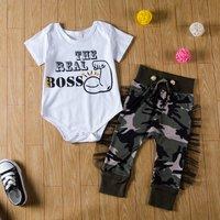 2-piece Trendy Letter Print Bodysuit and Camouflage Pants Set