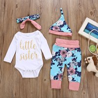 4-piece Fresh Letter Print Bodysuit, Floral Pants, Hat and Headband Set