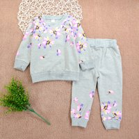 2-piece Fresh Flower Print Pullover and Pants for Baby and Kid