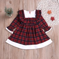 Baby / Toddler Girl Plaid Pleated Flare-sleeve Dress