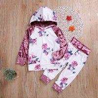 Baby / Toddler Girl Floral Velvet Sleeves Hoodie and Pants Set