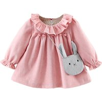 Lovely Flounced Pompon Long-sleeve Dress with a Bag for Baby Girl