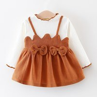 Sweet Bowknot Faux-two Ruffled Long-sleeve Dress for Baby Girl