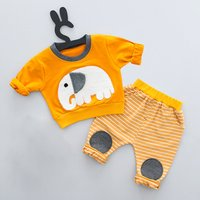 Cute Appliqued Elephant Top and Pants Set for Baby