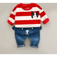 2-piece Fun Bulldog Print Stripes Long Sleeves Top and Jeans for Baby