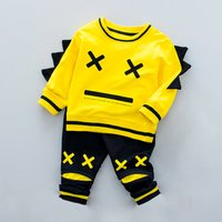 Fun Cartoon Print Top and Pants Set for Baby