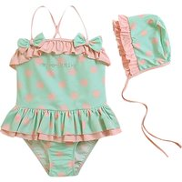 2-piece Sweet Polka Dotted Ruffle Swimsuit and Hat Set for Baby Girl