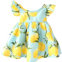 Cute Lemon Print Flutter Sleeves Dress for Baby Girl