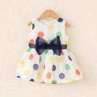 Lovely Polka Dotted Bow Decor Sleeveless Dress for Baby Girl