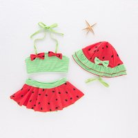 3-piece Striped Halter Bikini and Hat Set for Baby Girl