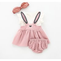 3-piece Lovely Rabbit Ear Decor Ruffled Cap-sleeve Dress, shorts and Headband Set for Baby and Toddl