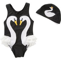 Cute Color-blocking Ruffled Swan Print Swim One Piece and Hat Set for Toddler Girl and Girl