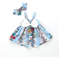 Pretty Floral Bow Decor Slip Dress and Headband Set for Baby Girl