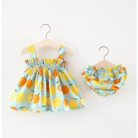 2-piece Pretty Lemon Pattern Strap Dress and Pantie for Toddler Girl