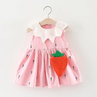 Adorable Carrot Print Sundress with Carrot Bag for Baby Girl