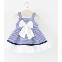 Trendy Striped Color-blocking Bow Decor Strap Dress for Baby and Toddler Girl