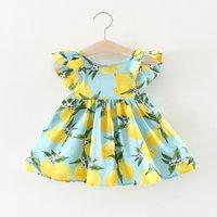 Baby Girl's Flutter Sleeves Lemon Pattern Dress