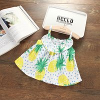 Lovely Fruit Print Sleeveless Strap Dress for Baby and Toddler Girls