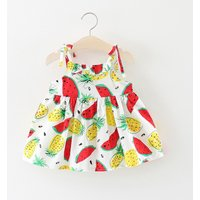 Fresh Fruit Print Ruffled Slip Dress for Baby Girl