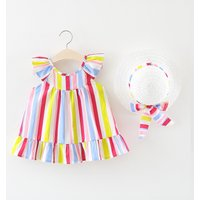 Pretty Sleeveless Striped Dress and Hat for Baby and Toddler Girls