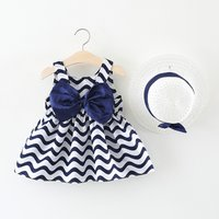 Lovely Wave Sleeveless Dress and Hat for Baby and Toddler Girl