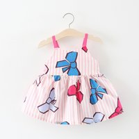 Beautiful Striped Bowknot Print Strappy Dress for Baby and Toddler Girls