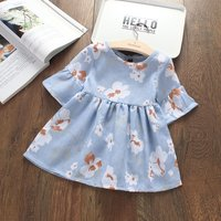Flare-sleeve Floral Dress for Baby Girl