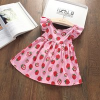 Lovely Ruffle-sleeve Fruit Pattern Dress for Baby Girl