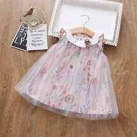 Pretty Floral Petal Collar Mesh Overlay Sleeveless Dress for Baby and Toddler Girl