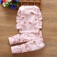 Lovely Bear Patterned Long-sleeve Top and Pants Set for Baby
