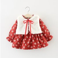 2-piece Floral Long-sleeve Dress and Plush Vest Set for Baby and Toddler Girl