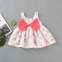 Lovely Cactus Pattern Bow Decor Sleeveless Dress for Baby Girl