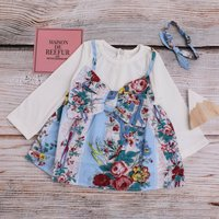 Pretty Faux-two Floral Bow Decor Long-sleeve Dress with Headband for Baby Girl