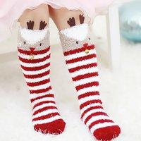 Lovely Christmas Elk Over Knee Fleece Socks for Baby and Toddler
