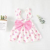 Lovely Fruit Patterned Bow Decor Ruffle-sleeve Dress for Baby Girl