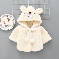 Lovely Bear Design Plush Long-sleeve Coat for Baby Girl