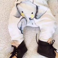 Casual Elephant Pattern Solid PP Pants for Baby and Tocaddler