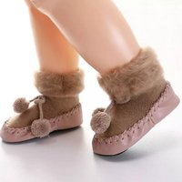 Comfy Pompom Decor Plush Floor Socks for Baby and Toddler